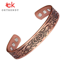 3000 Gauss Magnet Pure Copper Bracelet Men Energy Magnetic Adjust Cuff Femme Vintage Carving Wide Bracelets Bangles