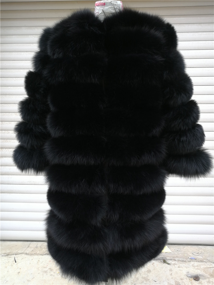 100% Natural Real Fox Fur Coat Women Winter Genuine Vest Waistcoat Thick Warm Long Jacket With Sleeve Outwear Overcoat plus size 69