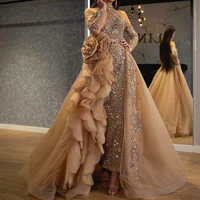 gold prom dresses 2020 high neck beading sequins detachable skirt ruffle sparkly shinning evening dresses gold party dresses
