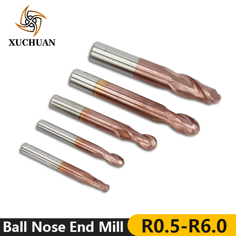 1pc HRC 50 R0.5-6.0 Ball Nose End Mill Tungsten Steel Milling Cutter TiCN Coated CNC Router Bit 2 Flutes Engraving Bit