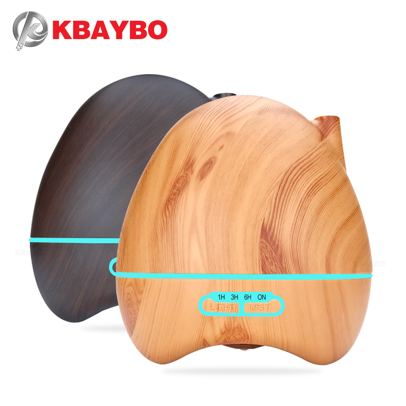 KBAYBO 300ML Wood Grain Aromatherapy Essential Oil Diffuser Home Ultrasonic Humidifier Purifier With 7 Colors LED