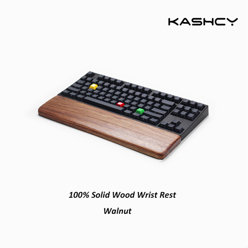 Kashcy solid wooden walnut palm rest for Ergonomic Gaming Mechanical Keyboard wrist support pad 60 87 104 108keys