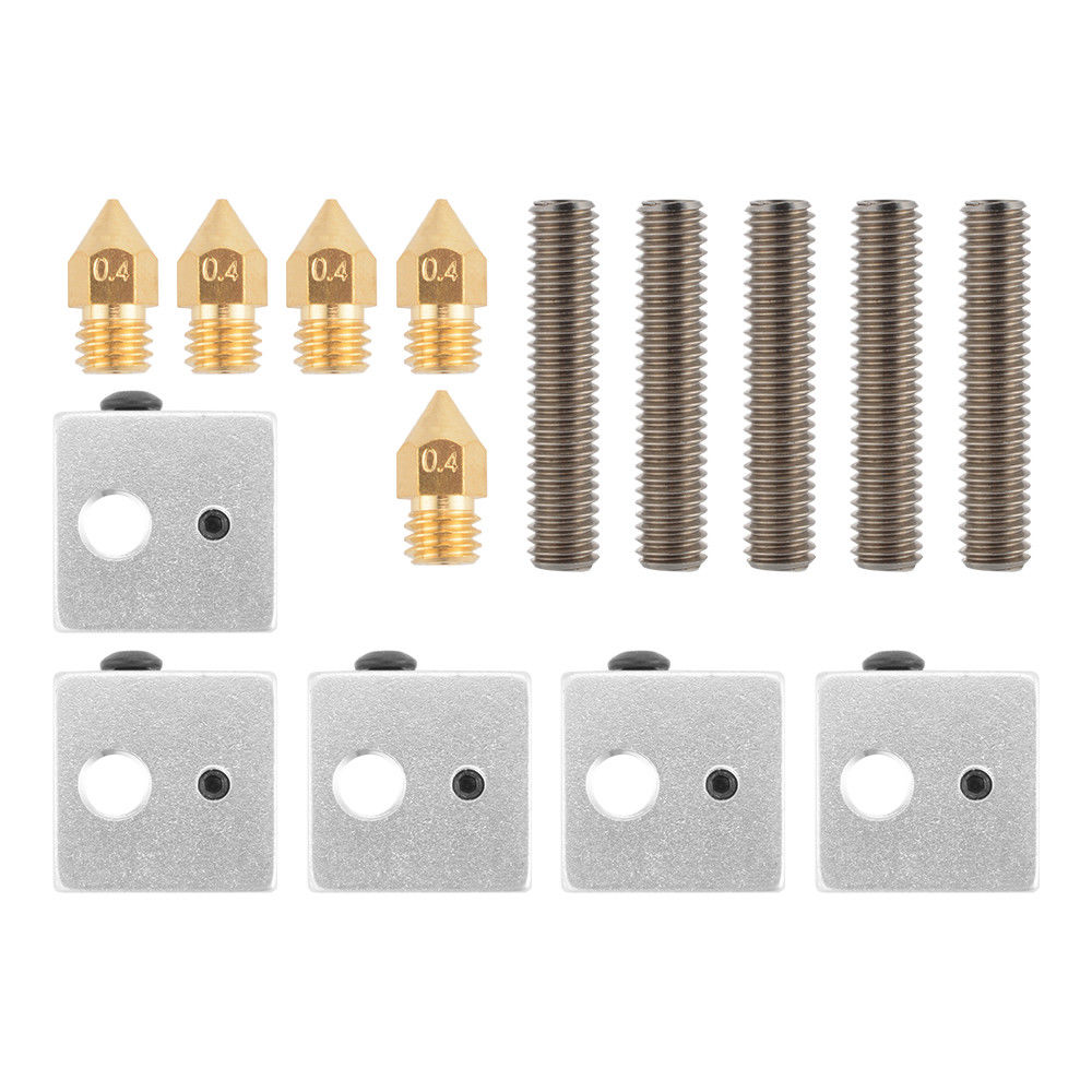 A8 3D Printer Part 5PCS 0.4mm Extruder Nozzle+5PCS 1.75mm Throat Tube+5PCS Heater Blocks For Mk8 Makerbot
