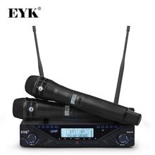 EYK EAU10 sistema microfonico Wireless UHF regolabile Karaoke professionale palmare Mic Stage 2*100 canali frequenza 80M ricezione