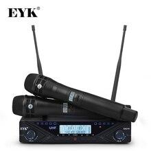 EYK EAU10 قابل للتعديل مكبر صوت لا سلكي ذو تردد فوق العالي نظام احترافي كاريوكي يده ميك المرحلة 2*100 قنوات تردد 80 متر استقبال