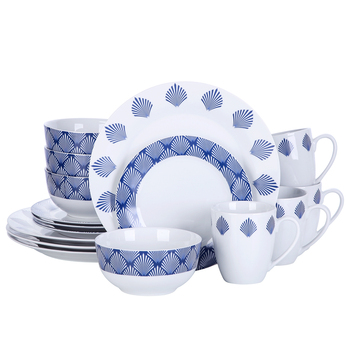 VEWEET Drew 16-Piece Porcelain Combination Dinner Set with 4*Dinner Plate,Dessert Plate,Cereal Bowl,380ml Mug Set for 4person