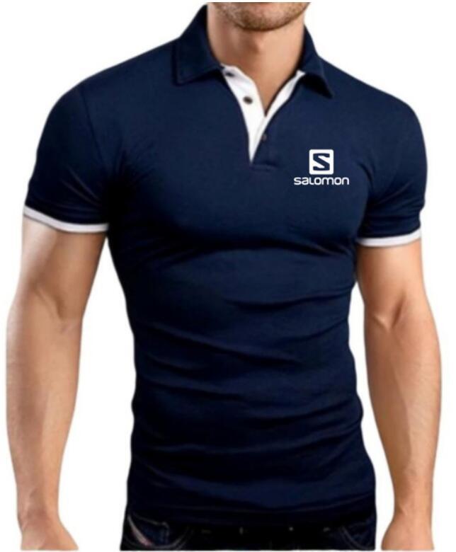 2019 New Fashion Men   Polo   Shirt Salomon Printed Lapel Collar Slim Fit Breathable Tops Casual Mens Classic Male   Polos   Shirts 5XL