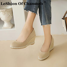 Leshion de chanmeb designer de luxo natural cânhamo alpercatas feminino cunhas sapatos plataforma dedo do pé redondo escritório casual bomba 43 44