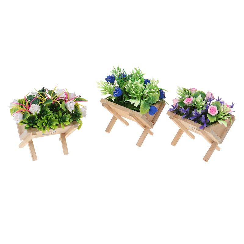 1Pcs Dollhouse Miniature Accessories Mini Flower Trough Simulation Potted Flower Model Toy Doll House Decor
