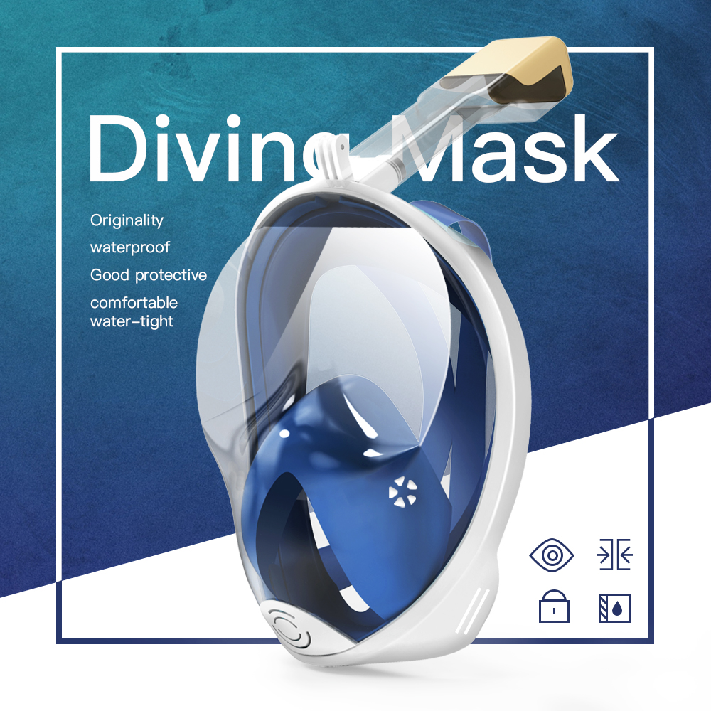 Swimming Mask Gopro Underwater Anti Fog Snorkel Panoramic Full Face Diving Mask Women Men Kids Snorkeling Scuba Diving Equipment