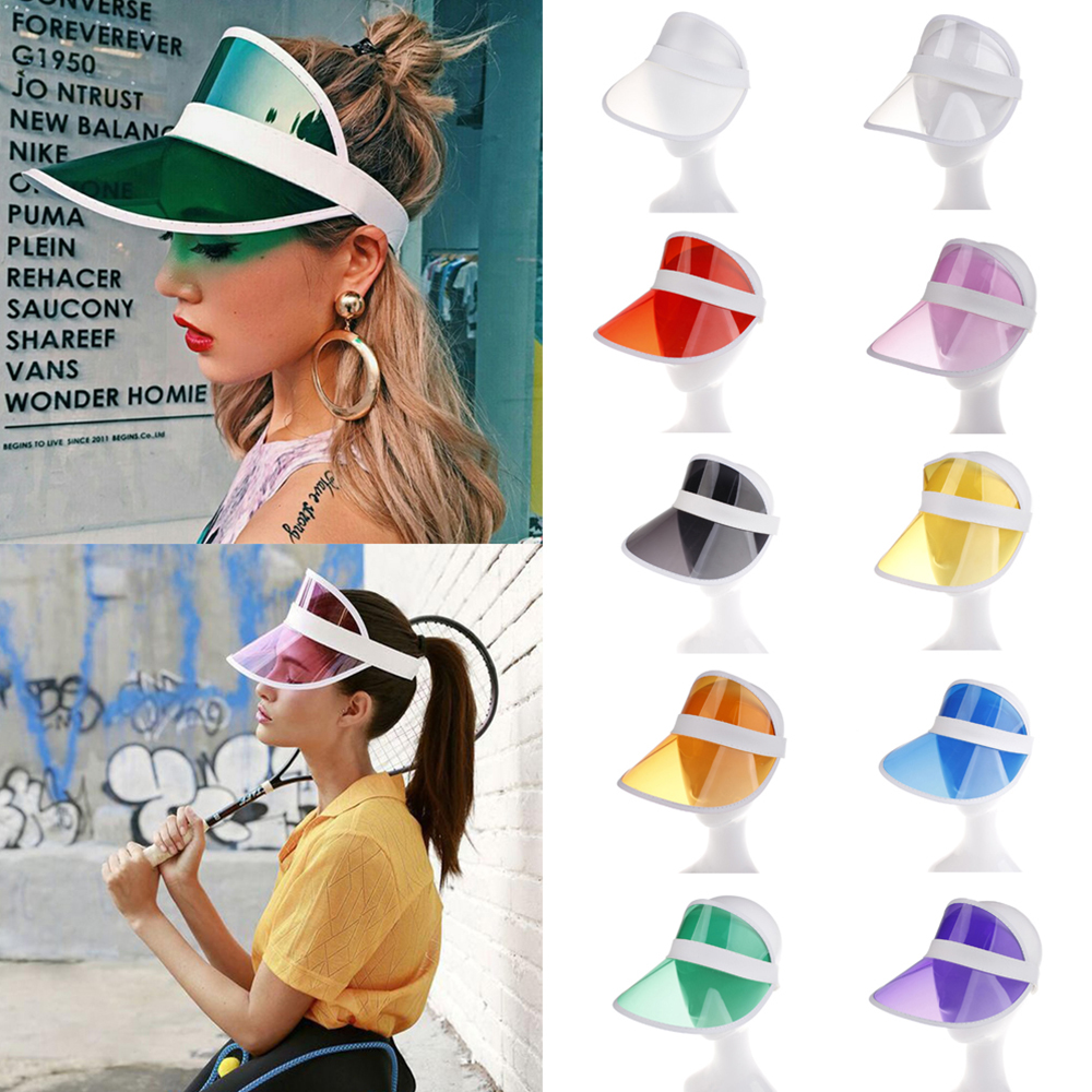 2020 New Transparent Summer Sun Visor Hat Party Casual Clear Plastic Women Man Adult Sunscreen Cap Sunhat Unisex Outdoor Hat