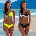Solide Patchwork Bikini Set Sexy Push Up Bademode Frauen Plus Größe Bikinis Badeanzug Halter Top Badeanzug Weibliche Biquini auf