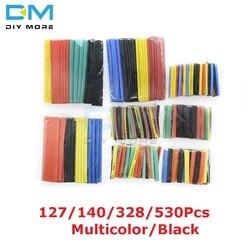 127/140/328/530 Uds surtido de poliolefina termorretráctil manga de tubo eléctrico Cable kits 8 tamaños Multicolor/negro
