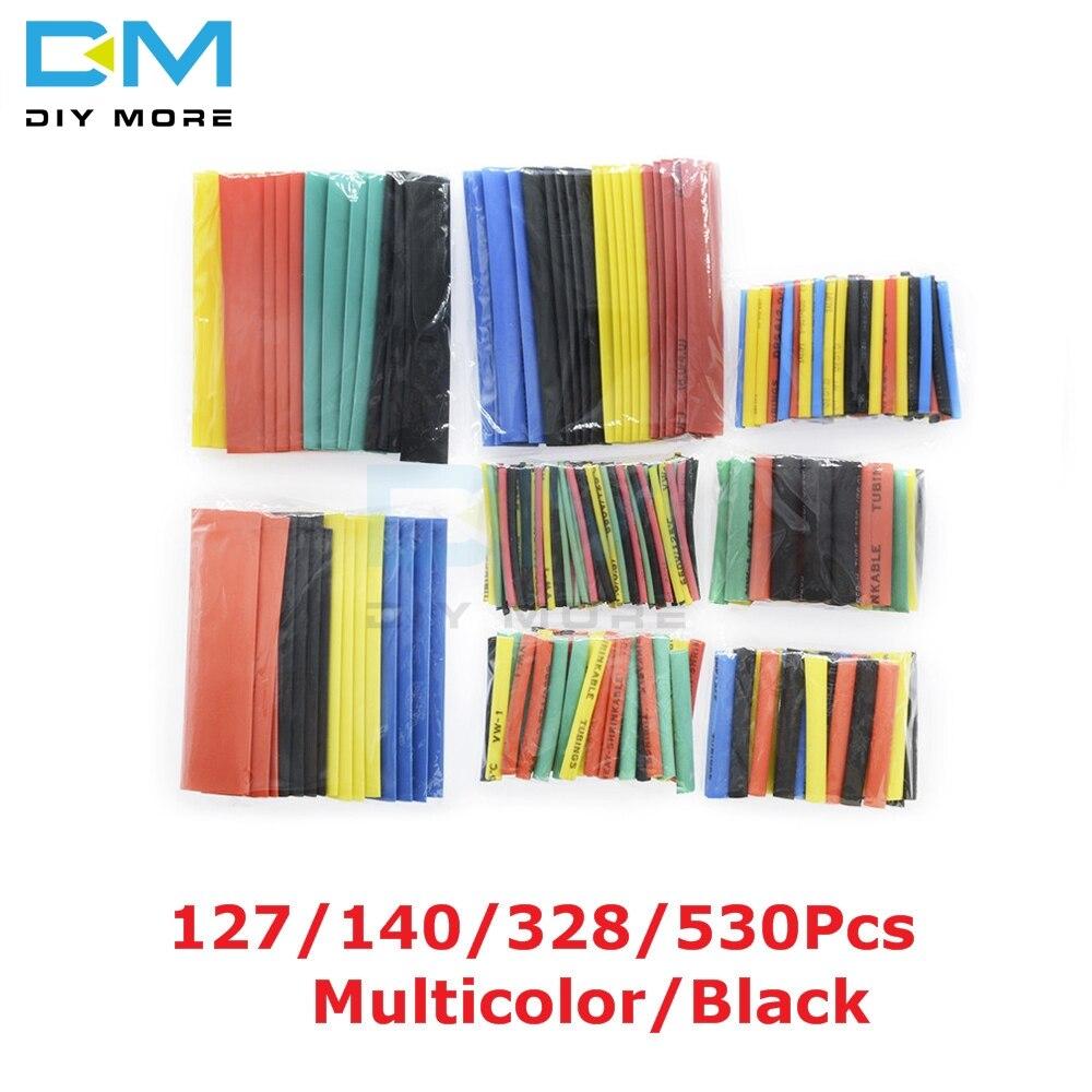 127/140/328/530 pces sortidas polyolefin tubo de psiquiatra de calor manga kits de tubo de cabo elétrico 8 tamanhos multicolorido/preto
