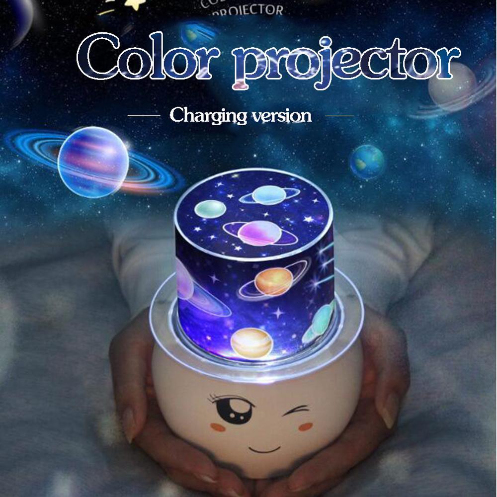 Проекционная лампа USB детский ночной Светильник ing лампа-проектор вращение на 360 градусов красочный светильник для женщин и детей на