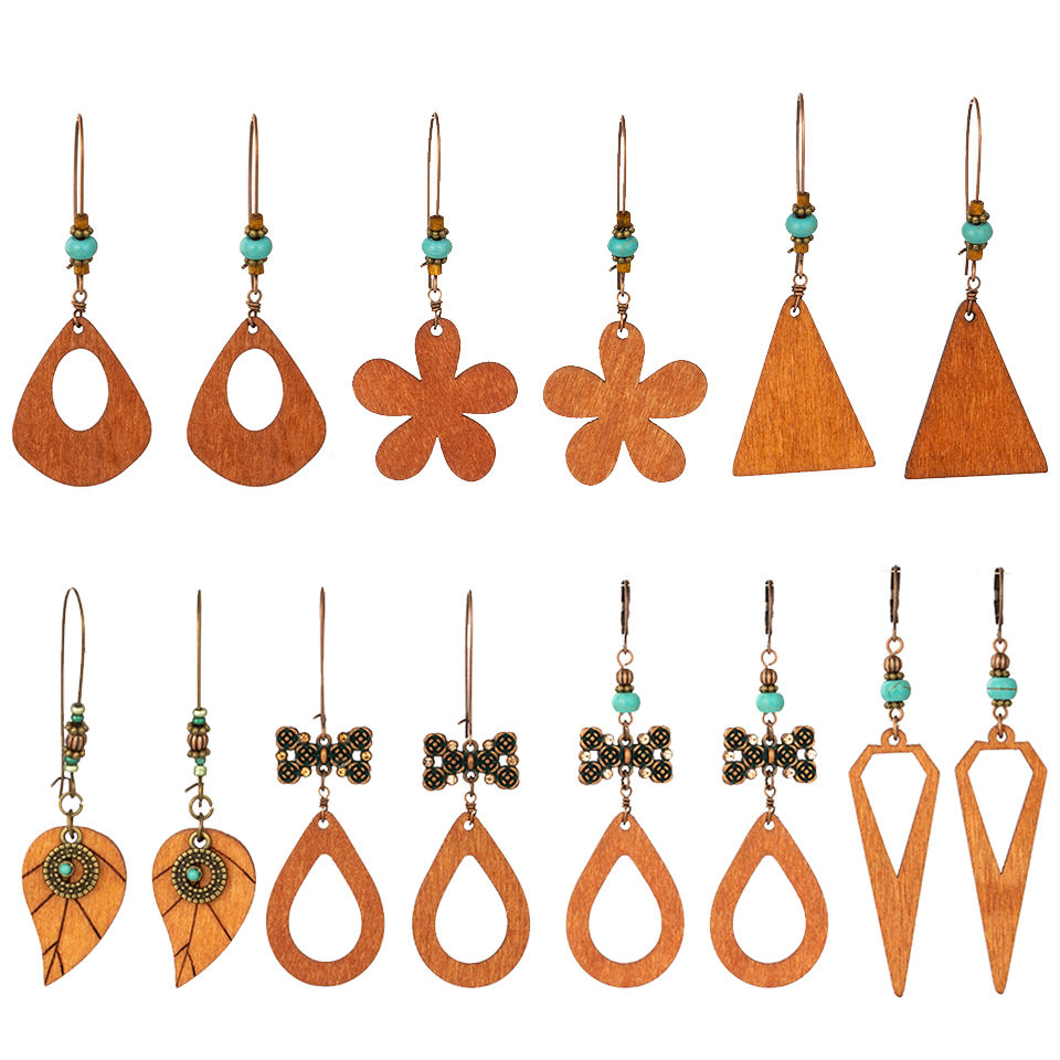 Ethnic Boho Bohemian Vintage Multiple Types Wooden Dangle Hanging Earrings For Women Female's Drop Ear Ornament Wedding Jewelry