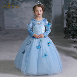 Baby Girl Elsa Princess Dress Crystal Butterfly Mesh Long Girl Vestido Vintage Party Carnival Halloween Dress Cosume Clothes