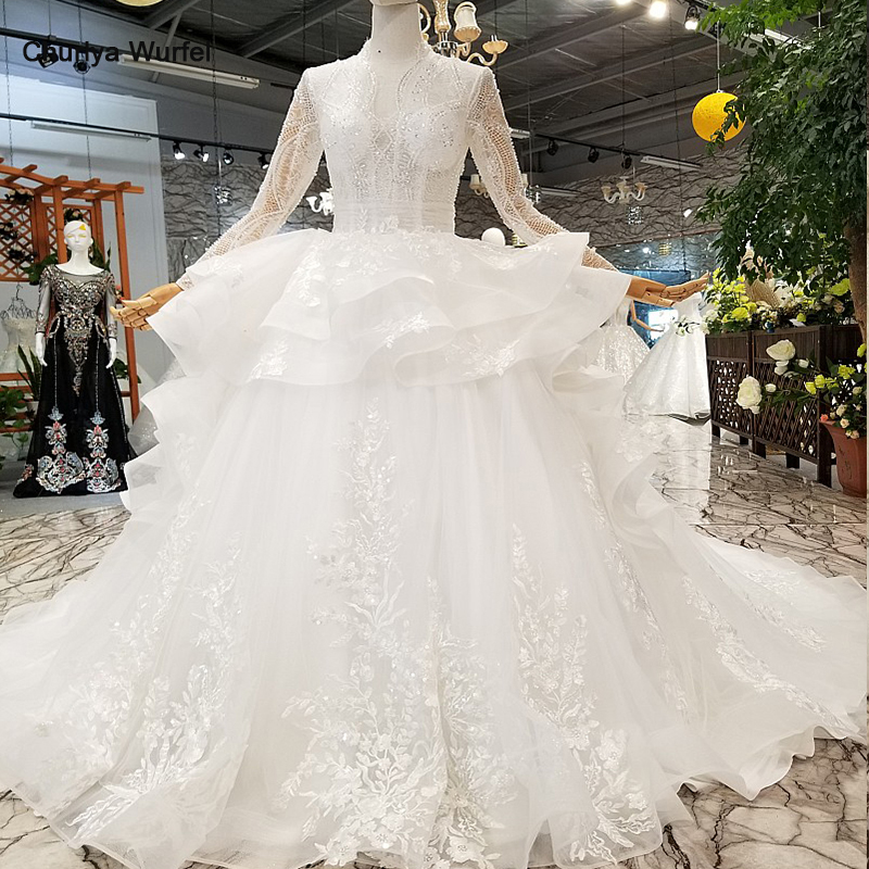 LS245787 2018 new design wedding gowns deep v neck long sleeves ruffle ball gown puffy customized wedding dress with long train