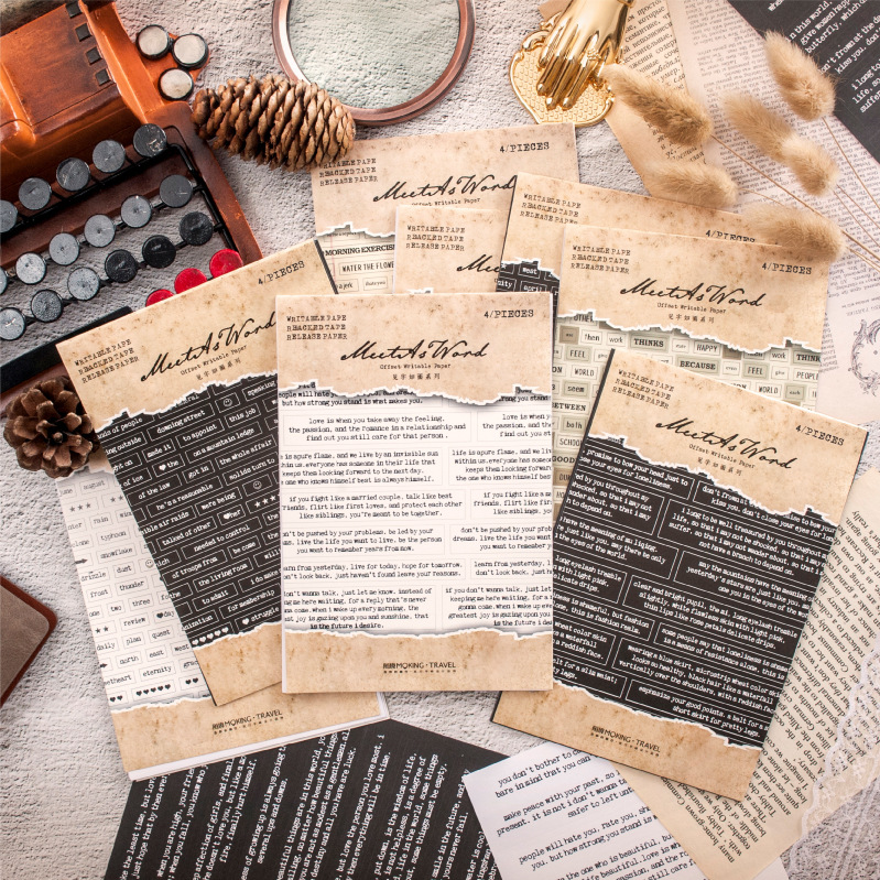 4 Pcs/lot Vintage Oxford English Series Decorative Stickers Scrapbooking Stick Label Diary Stationery Album Retro Text Sticker