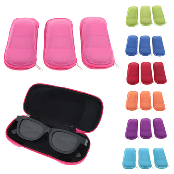 3pcs Zipper Eyeglasses Box Holder Glasses Case Eyewear Protector, Car Shaped Design, for Women Men image