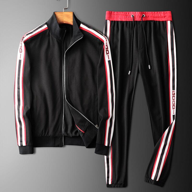 Top 2019 New GOOD Printed Men Set Causal Patchwork Jacket Men 2Pcs Tracksuit Sportswear Hoodies Sweatshirt Pants Suit Jogger