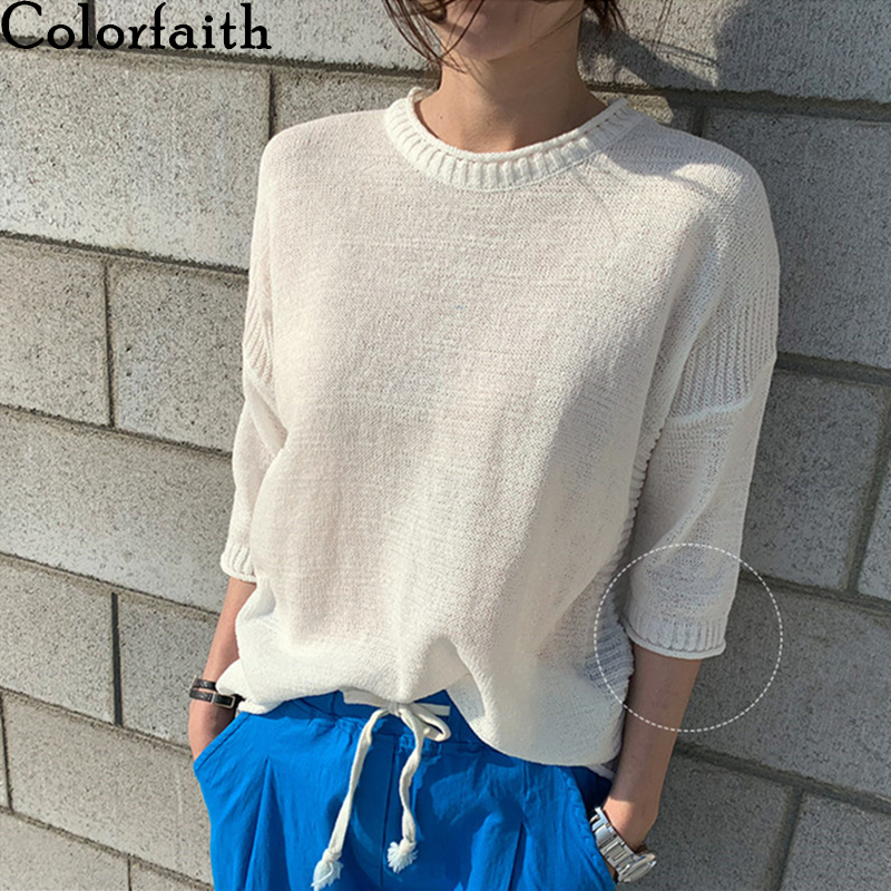 Colorfaith New 2020 Women Summer T-Shirts Solid Knitting Bottoming Casual Elasticity Fashionable Thin Half Sleeve Tops T2901