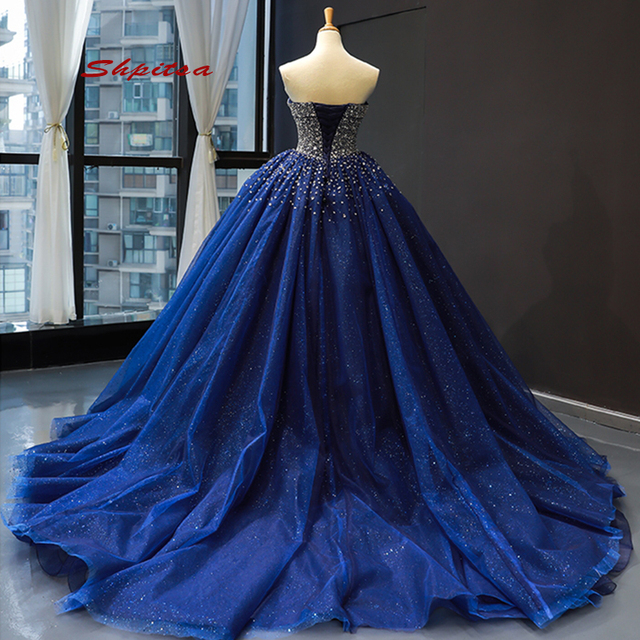 Navy Blue Tulle Quinceanera Dresses 2020 Plus Size Luxury Crystals Masquerade Ball Gown Sweet 16 Dresses vestido de 15 anos
