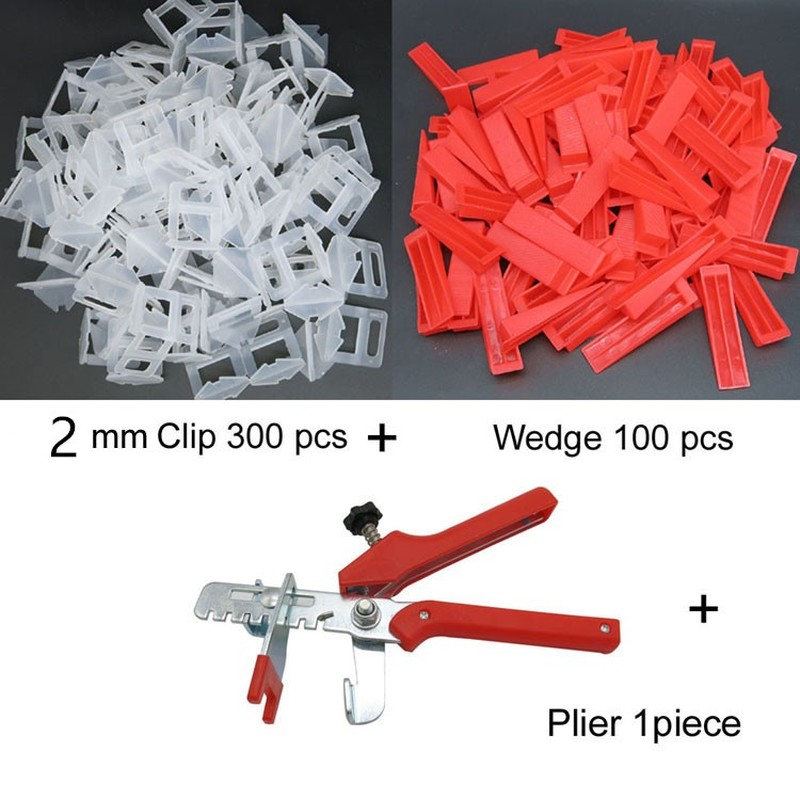 Flat Leveler Plastic Spacers Constructions Tool Accurate Tile Leveling System 2mm 300 Clips 100 Wedges 1Tile Pliers Floor Wall