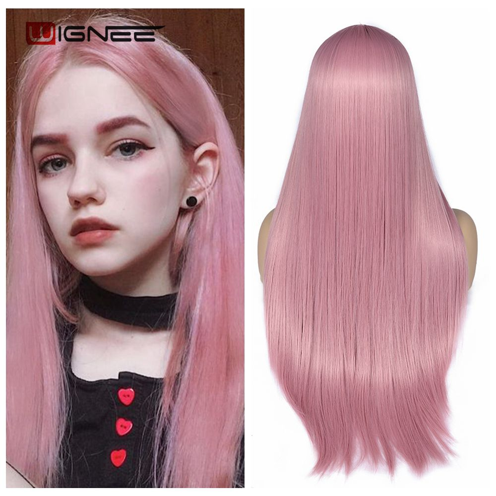 Wignee Pink Long Straight Hair Synthetic Wig For Women Hair Bundle With Closure Daily/Party Game Of Pre-Colored Bundle Pack Wig