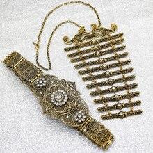 SUNSPICEMS Caucasus 여성 금속 벨트 Breastplate 턱받이 세트 유럽 민족 웨딩 드레스 Caftan 벨트 쥬얼리 신부 선물 도매