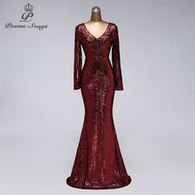 Party-Dress Evening-Dresses Prom-Gowns Robe-De-Soiree Sequins Long-Sleeve-Style New Vestido