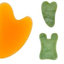 Натуральный Нефритовый камень Guasha доска массажный инструмент спа терапия Gua Sha массажер антистресс уход за телом соскабливающая доска 3 стиля