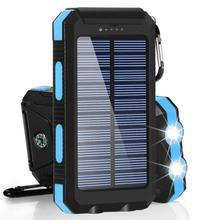 Solar Power Bank 30000mAh USB Powerbank Battery External Portable Waterproof Charging LED Light 2 USB Outdoor Light Powerbank