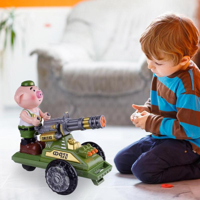 Creative Figures Toy Pig Doll Lighting Music Children Electric Toy Car  Dynamic Music Body Swing Linear Forward Function