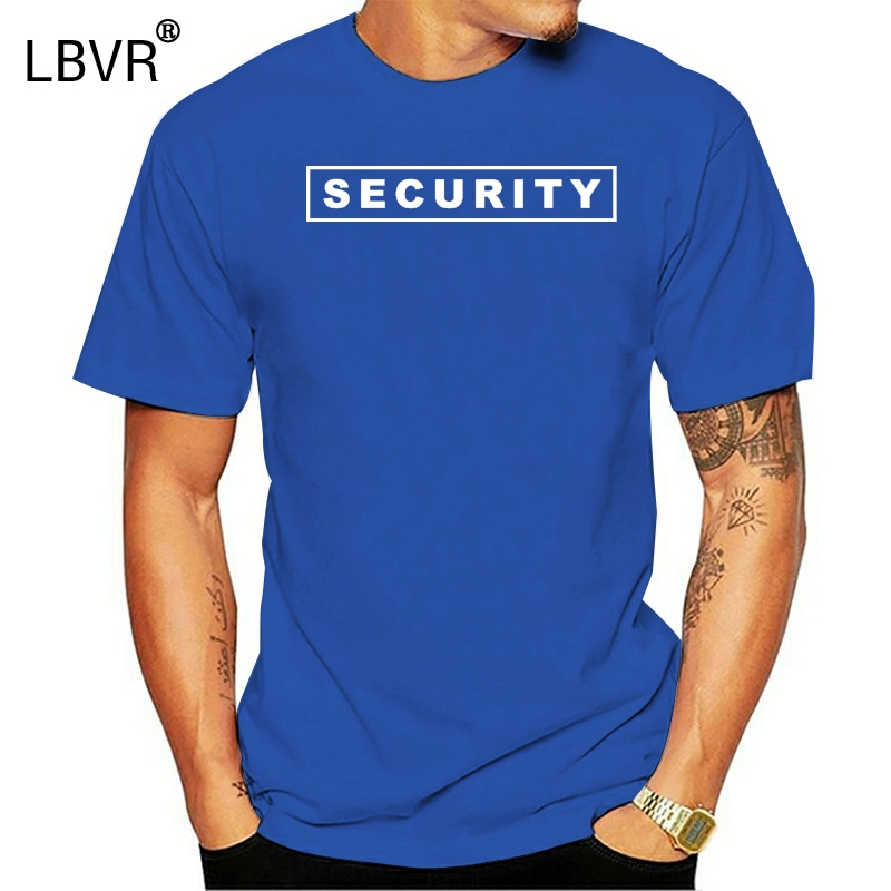 Free Shipping Summer Fashion Mens Printed Security Party Staff Uniform Funny T Shirt 2 Sides Summer Men Clothing(China)