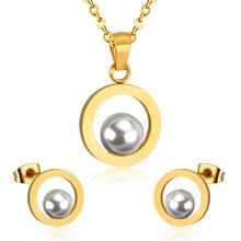Jewelry-Set Earring Necklace Wedding-Dubai Bridal Fake-Pearl Girls Fashion Women LUXUKISSKIDS