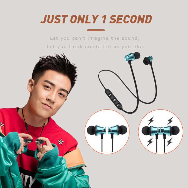 Bezprzewodowy słuchawki magnetyczne Stereo Bluetooth zestaw słuchawkowy dla aktywnych słuchawki douszne z mikrofonem dla iPhone dla Samsung dla Huawei