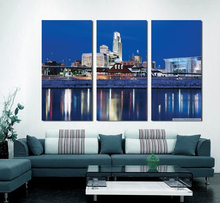 Modern Colorful Photo Picture missouri river at omaha Room Decor Cities Canvas Art Painting Living Bedroom