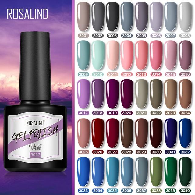 ROSALIND Nail Gel Varnish Hybrid UV Gel Polish Eerything For Mnicure Nail Art Semi Permanent Base Top Siny coat lacquer