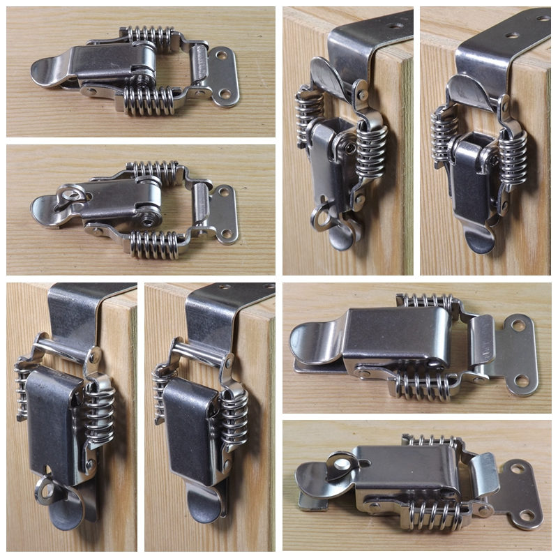 304 Stainless Steel Spring Hasp Wooden Case Lock Buckle Toolbox Lock Mechanical And Electrical Box Hasp Hardware Box Accessories