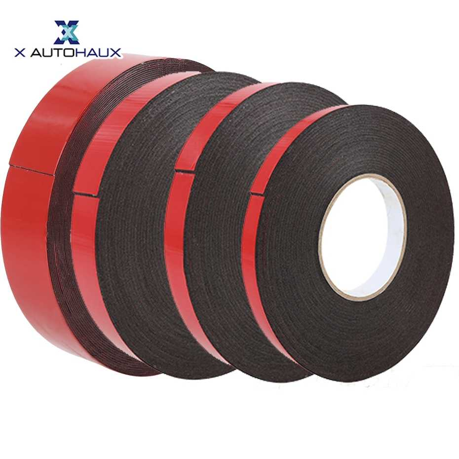 X Autohaux 0.5mm-2mm Thickness Black Super Strong Self Adhesive Foam Car Door Window Photo Frame Double Sided Tape