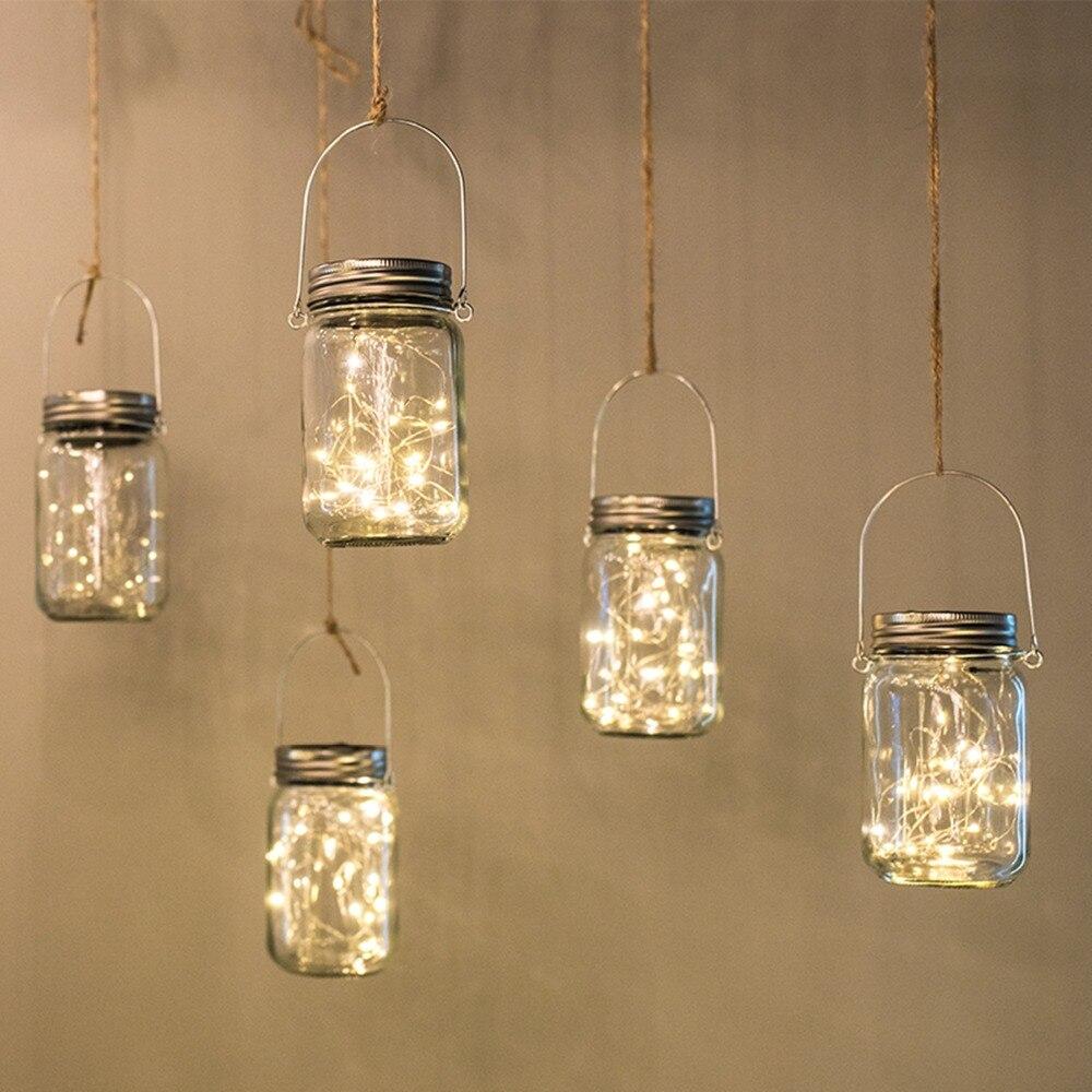 20 LED Solar Fairy Light For Mason Jar Lid Insert Color Changing Garden Decor Christmas Lights Outdoor Wedding Decoration