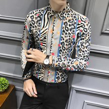 Camisas Hombre British Style Shirt Men Fashion 2019 Autumn Sexy Leopard Print Mens Casual Shirts Long Sleeve Club Prom Tuxedo(China)