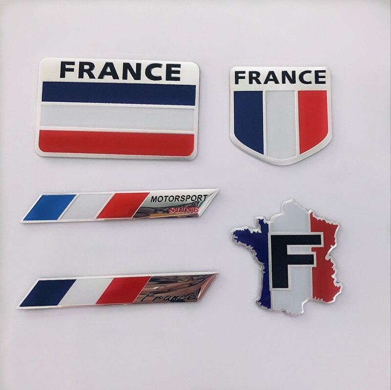 Metal Aluminum Alloy France Flag Car Stickers Car Modification Decoration Badge for Renault Peugeot Citroen