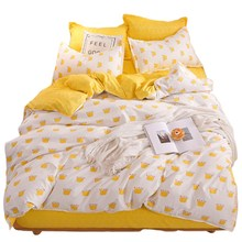 Bedding Yellow Single Bed Set Reactive Printed Simple Double Bed Sheet Queen Bed Linen King Size Bedding(China)
