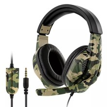 3.5mm Camouflage Wired Gaming Headphone Stereo Deep Bass Gaming Computer Gamer With Microphone Earphone for PC PS4 Xbox Laptop