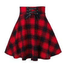 Print Skirt Skater Lace-Up Pleated Harajuku Plaid Punk Grey Woolen Green Winter Women