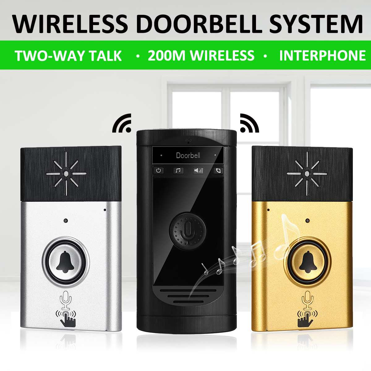 1 To 1 H6S Wireless Doorbell With Voice Intercom Intelligent Battery-powered 200M Outdoor Transmitter Indoor Home Security Tools