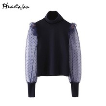 Huaxiafan turtleneck blouse women sexy tops transparent long sleeves lace shirts female autumn winter elegant shirts blouses new(China)