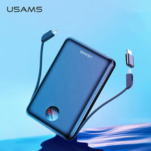 USAMS 10000mAh LED Digital Mini Power Bank Fast Charging 10000 mah Portable External Battery Charger Powerbank with type C Cable